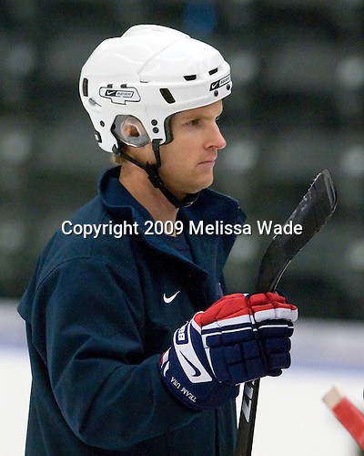 Joe Exter (US - Goaltending Coach) - The US practiced the morning of Sunday, April 19, 2009, prior to their gold medal game against Russia in the 2009 World Under 18 Championship at the Urban Plains Center in Fargo, North Dakota.