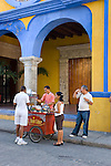 Morning coffee at Art College of cartagena, main facade (1890)., Cartagena de Indias, Bolivar Department,, Colombia, South America.