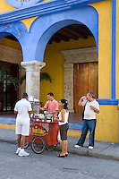 Morning coffee at Art College of cartagena, main facade (1890)., Cartagena de Indias, Bolivar Department,, Colombia, South America.