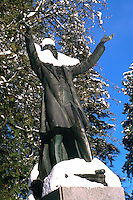 """Snow Covered """"Lord Stanley"""" Statue in Stanley Park, Vancouver, BC, British Columbia, Canada, Winter"""