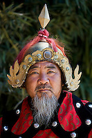 Man dressed in Mongolian Warrior costume at The Great Wall of China, Mutianyu, north of Beijing