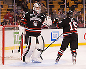 Chris Rawlings (NU - 37), Kevin Roy (NU - 15) - The Northeastern University Huskies defeated the Boston University Terriers 3-2 in the opening round of the 2013 Beanpot tournament on Monday, February 4, 2013, at TD Garden in Boston, Massachusetts.