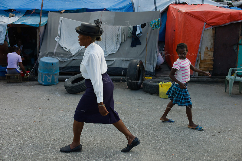 Port Au Prince, Haiti, April 10, 2010.Thousands of homeless IDP's are camping on the 'Champ de Mars' in squalid living conditions, as the rainy season has now started..