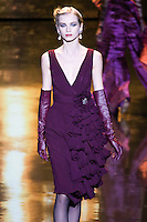 Diana Farkhullina walks runway in an outfit from the Badgley Mischka Fall 2011 fashion show, during Mercedes-Benz Fashion Week Fall 2011.