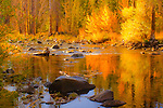 Fall reflections on the Little Truckee River, Truckee, California.