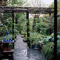 A view from the dining pavilion and the pergola down the pebbled path of this lushly planted London garden