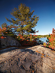 Beautiful sunset autumn nature scenery of Killarney Provincial Park, Ontario, Canada