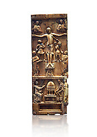 Medieval ivory plaque depicting the Crucifixion and the saints at the tomb, end of 11th cent from Salerne or Amalfi. AD. Inv OA 4085, The Louvre Museum, Paris.