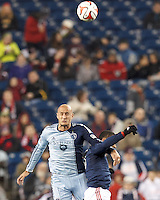 Foxborough, Mass., - Saturday April 26, 2014: The New England Revolution (dark blue/white) defeated Sporting Kansas City (light blue), 2-0 in a Major League Soccer (MLS) match at Gillette Stadium.