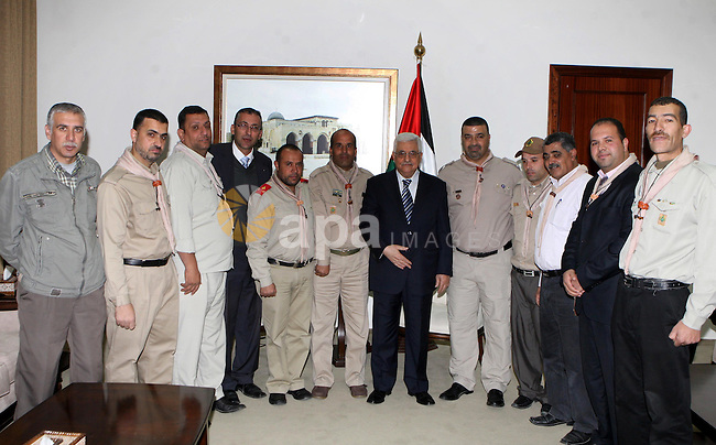 President Mahmoud Abbas (Abu Mazen)  meets with UNHCR delegation Scouts Jerusalem Governorate,in the west bank of Ramallah on December 31, 2012. Photo by Thaer Ganaim. Photo by Thaer Ganaim