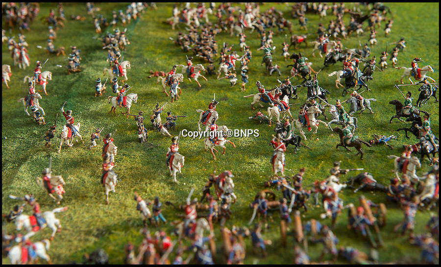 BNPS.co.uk (01202 558833)<br /> Pic: PhilYeomans/BNPS<br /> <br /> Charge of the Scots Greys.<br /> <br /> Historic battle brought back to life...<br /> <br /> A stunning diorama of the battle of Waterloo has been restored to its former glory after a painstaking cleaning operation to remove nearly 50 years of dust.<br /> <br /> The sweeping panorama contain's 21,500 figures and nearly 10,000 horses, each of which has been meticulously cleaned by hand over the last five months by husband and wife team Kelvin and Mary Thatcher from Norfolk.<br /> <br /> The pristine model has now gone back on display at the refurbished Royal Green jackets museum in Winchester.<br /> <br /> A sobering fact is that there were over twice as many casualties in the actual battle as there are figures on the diorama.