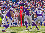 19 October 2014: Minnesota Vikings quarterback Teddy Bridgewater looks to make a handoff in the third quarter against the Buffalo Bills at Ralph Wilson Stadium in Orchard Park, NY. The Bills defeated the Vikings 17-16 in a dramatic, last minute, comeback touchdown drive. Mandatory Credit: Ed Wolfstein Photo *** RAW (NEF) Image File Available ***
