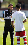 Aberdeen v St Johnstone...28.06.15  Glebe Park, Brechin..Pre-Season Friendly<br /> Aberdeen manager Derek McInnes talks with Shay Logan<br /> Picture by Graeme Hart.<br /> Copyright Perthshire Picture Agency<br /> Tel: 01738 623350  Mobile: 07990 594431