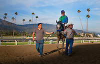 Creative Cause, with jockey Joel Rosario aboard wins the 2012 San Felipe Stakes at Santa Anita Park in Arcadia California on March 10, 2012.