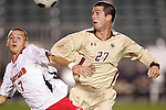 14 November 2008: Boston College's Jamie Melas (27) and Maryland's Casey Townsend (7). The University of Maryland defeated Boston College 1-0 at WakeMed Stadium at WakeMed Soccer Park in Cary, NC in a men's ACC tournament semifinal game.