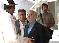 April 18 2002, Montreal, Quebec, Canada; <br /> French singer Charles Aznavour, talk to demonstrators as he leave the Queen Elizabeth hotel in downtown Montr&Egrave;al, April 18 2002<br /> <br /> <br /> <br /> <br /> <br /> <br /> <br /> (Mandatory Credit: Photo by Sevy - Images Distribution (&copy;) Copyright 2002 by Sevy<br /> <br /> NOTE :  D-1 H original JPEG, saved as Adobe 1998 RGB