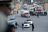 Washington, DC - January 20, 2009 -- An ambulance arrives at the US Capitol during a lunch in honor of US President Barack Obama after Obama was sworn in as the 44th US president in Washington, DC, on January 20, 2009. .Credit: Saul Loeb - Pool via CNP