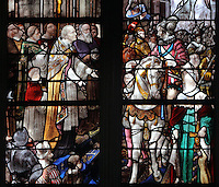 Detail of the stained glass window, 1974, by Michel Durand, of the visit of Henri IV to Le Havre, in the choir of Le Havre Cathedral, or Cathedrale Notre-Dame du Havre, built in the 16th and 17th centuries and made cathedral in 1974, on the Rue de Paris in Le Havre, Normandy, France. This is one of the few buildings in the town to survive the bombings during the Second World War, although it did sustain heavy damage. Only 2 of the original stained glass windows survived. The centre of Le Havre is listed as a UNESCO World Heritage Site. Picture by Manuel Cohen.