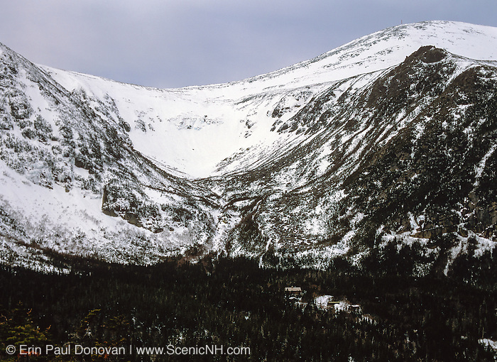 Typical gray overcast day at Tuckerman Ravine on the eastern slopes of Mount Washington in the White Mountains of New Hampshire USA during the winter months.