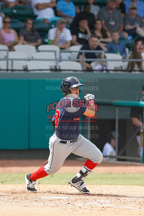Salem Red Sox outfielder Chris Madera (33) at bat during a game against the Down East Wood Ducks  at Grainger Stadium on April 16, 2017 in Kinston, North Carolina. Salem defeated Down East 9-2. (Robert Gurganus/Four Seam Images)