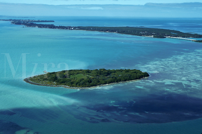 Aerial of historic Indian Key State Park, Pioneer Island Settlement, Florida Keys. Islamorada, Florida.