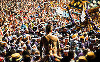 """The famous Sanja festival takes place in Tokyo`s Asakusa district.portable shrines are carried head high by locals to the main temple for blessing. Local Yakuza gangsters too can be seen taking part showing their tattoos which is """"normally """" band by the police."""