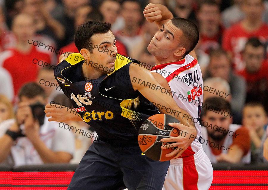 Kosarka Euroleague season 2015-2016<br /> Euroleague <br /> Crvena Zvezda v Fenebahce Istanbul<br /> Kostas Sloukas and Nikola Rebic<br /> Beograd, 06.11.2015.<br /> foto: Srdjan Stevanovic/Starsportphoto &copy;