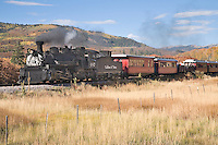 The Cumbres & Toltec steam railroad heads back toward the Chama, New Mexico station with a load of tourists after a day's run up the mountain on a colorful autumn day in northern New Mexico