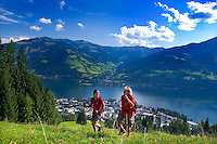 Zell am See, Salzburgerland, Austria, September 2008. The trail over ebenbergalm leads through alpine pastures and forests, and offers good views over the lake. From the lakeside town of Zell am See we hike in the surrounding mountains.  Photo by Frits Meyst/Adventure4ever.com