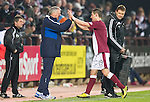 Hearts v St Johnstone...29.01.11  .Jim Jefferies high fives Rudi Skacel as he is subbed.Picture by Graeme Hart..Copyright Perthshire Picture Agency.Tel: 01738 623350  Mobile: 07990 594431
