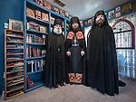 First Monastic Liturgy, St. Silhouan Monastery, Columbia, California.<br /> <br /> Archimandrite Irinei (center), Father Ignatius (white beard), Hierodeacon Peter