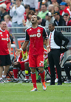 Toronto FC forward Maicon Santos #29 showing some emotion after scoring his second goal during an MLS game between the Philadelphia Union and the Toronto FC at BMO Field in Toronto on May 28, 2011..The Philadelphia Union won 6-2..