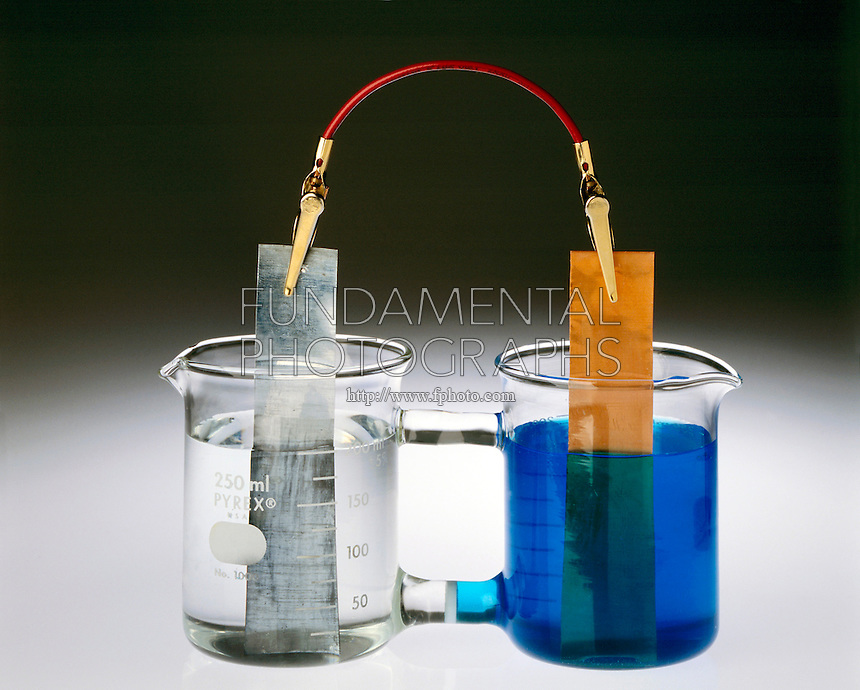 ELECTROCHEMICAL CELL: FRITTED GLASS DISC BRIDGE<br /> (1 of 2)<br /> aka Galvanic, Electrolytic, Daniell &amp; Voltaic Cell<br /> Two half cells; The Zn anode dissolves in ZnSO4(aq) (oxidation half-reaction) &amp; the Cu cathode is plated in CuSO4(aq) (reduction half-reaction). Electrons flow from the anode to cathode through wire. Glass bridge permits contact of solutions.