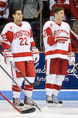 Ross Gaudet (BU - 22), Kevin Gilroy (BU - 16) - The Boston University Terriers defeated the visiting University of Toronto Varsity Blues 9-3 on Saturday, October 2, 2010, at Agganis Arena in Boston, MA.