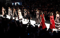 New york, United States. 7th February 2013 -- Models display creations by fashion designer Tadashi Shoji during New York Fashion Week, MBFW 2013 in New York. Photo by Kena Betancur / VIEWpress.