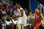 Ole Miss' Marshall Henderson (22) vs. Florida's Will Yeguete (15) in the SEC championship game at Bridgestone Arena in Nashville, Tenn. on Sunday, March 17, 2013.