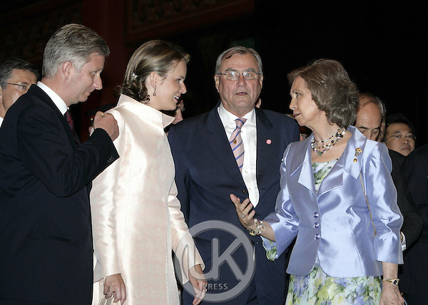 Prince Henrik of Denmark, Crown Prince Philippe, Crown Princess Mathilde of Belgium and Queen Sofia of Spain attend the Royal Barge Procession at the Royal Navy Club during the celebrations to mark the 60th anniversary of Thai King Bhumibol Adulyadej's accession to the throne..