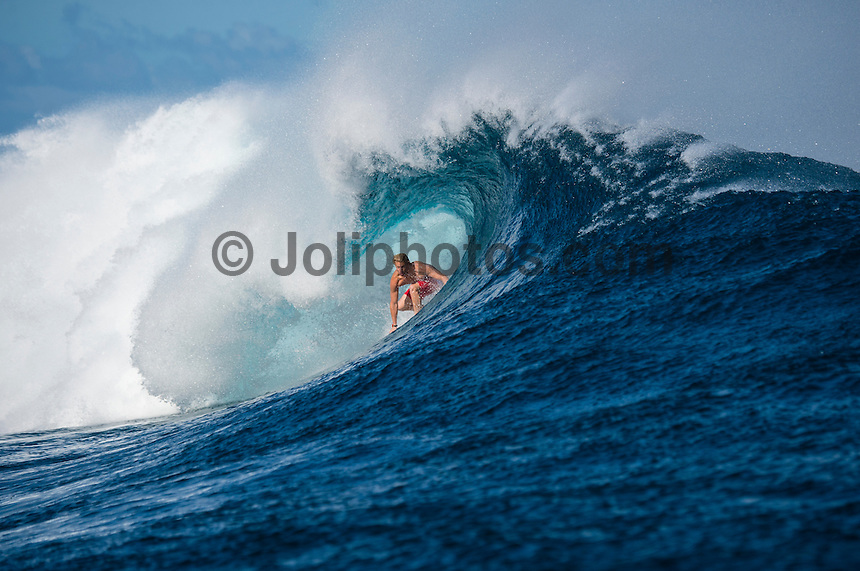 Namotu Island Resort, Namotu, Fiji. (Wednesday May 28, 2014) Kolohe Andino (USA) –  The Fiji Women's Pro, Stop No. 5 of 10 on the 2014  Women's World Championship Tour (WCT) was called on today  at Resturants despite a rising swell at Cloudbreak. 6'-8' south swell.  A  free surf session went down all day at Cloudbreak with some amazing barrels with the swell pushing 8'-10' by late afternoon. Photo: joliphotos.com