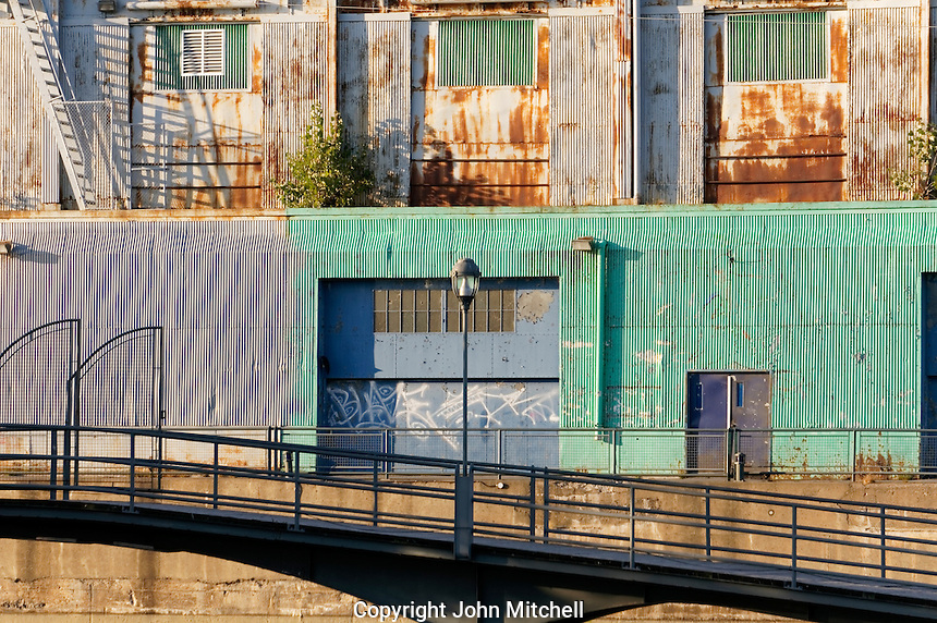 Colorful old corrugated metal buildings in the Old Port of Montreal, Quebec, Canada
