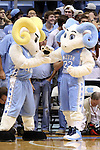 06 November 2015: UNC's mascots Rameses (left) and Rameses, Jr. (JR) (22). The University of North Carolina Tar Heels hosted the Guilford College Quakers at the Dean E. Smith Center in Chapel Hill, North Carolina in a 2015-16 NCAA Men's Basketball Exhibition game. UNC won the game 99-49.