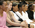 20 April 2007: Duke University Women's Basketball players enjoy listening to new head coach Joanne McCallie (not pictured). Duke University held a press conference to introduce new Women's Basketball head coach Joanne P. McCallie in Cameron Indoor Stadium in Durham, North Carolina.