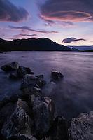 Sunset over lake Langas at STF Saltoluokta Fjällstation, Kungsleden trail, Lapland, Sweden