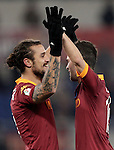 Calcio, ottavi di finale di Coppa Italia: Roma vs Atalanta. Roma, stadio Olimpico, 11 dicembre 2012..AS Roma forward Pablo Daniel Osvaldo, left, celebrates with teammate Miralem Pjanic, after scoring during their Italy Cup last-16 tie football match between AS Roma and Atalanta at Rome's Olympic stadium, 11 december 2012. .UPDATE IMAGES PRESS/Riccardo De Luca