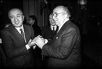 Roma  Febbraio 1986.Ciriaco De Mita (Democrazia  Cristiana), Giovanni Spadolini (Partito Repubblicano Italiano).