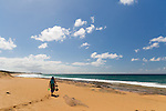 Papohaku Beach Park, Molokai, Hawaii, USA. This 2 mile strech of sandy beach is the longest in the state of Hawaii and often completely empty.