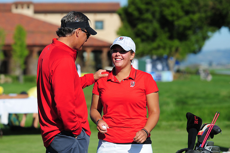 April 17, 2012; Hollister, CA, USA; Seattle Redhawks golfer Shannon Quinn (right) and women's golf coach Don Rasmussen (left) during the WCC Golf Championships at San Juan Oaks Golf Club.