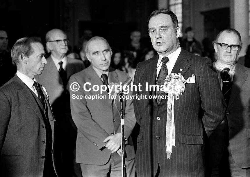 Vanguard Unionist politician, William Craig, makes victory speech, at City Hall, Belfast, N Ireland, after winning the East Belfast seat in the 28th February 1974 UK General Election. Also in the photo are Stanley McMaster, Ulster Unionist candidate, David Bleakley, N Ireland Labour Party candidate, and Des Gillespie, SDLP candidate. 197402180130k.<br /> <br /> Copyright Image from Victor Patterson, 54 Dorchester Park, Belfast, UK, BT9 6RJ<br /> <br /> t1: +44 28 9066 1296 (from Rep of Ireland 048 9066 1296)<br /> t2: +44 28 9002 2446 (from Rep of Ireland 048 9002 2446)<br /> m: +44 7802 353836<br /> <br /> e1: victorpatterson@me.com<br /> e2: victorpatterson@gmail.com<br /> <br /> The use of my copyright images is subject to my Terms &amp; Conditions.<br /> <br /> It is IMPORTANT that you familiarise yourself with them. They are available on my website at www.victorpatterson.com.<br /> <br /> None of my copyright images may be used on a website unless they are visibly watermarked, i.e. &copy; Victor Patterson within the body of the visible image. Metadata denoting my copyright must NOT be deleted. <br /> <br /> Web use (maximum size - 400 kb) is extra at currently recommended NUJ rates.
