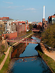 An eastward view of the C&O Canal in the Georgetown neighborhood of Washington, DC.