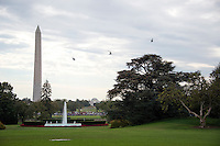 Marine One, with United States President Barack Obama aboard, along with several decoys, flies over the Ellipse in Washington, DC on Thursday, October 13, 2016 en route to Joint Base Andrews in Maryland for a trip to Pennsylvania and Ohio.<br /> Credit: Ron Sachs / CNP /MediaPunch