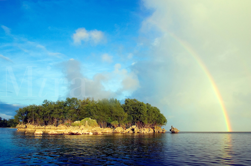 A rain storm approaches a small island in Palau, Micronesia.<br />